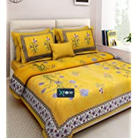 Xtore® Traditional Jaipuri Print King Size Bed Sheet with 2 Pillow Covers (100% Cotton)