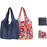 Elios Designer Pattern Reusable and Foldable Shopping Bag/Tote Hand Bag/Travel Bag/Grocery Bag | Heavy Duty, Eco Friendly | Compact, Lightweight and Convenient (Pack 2)