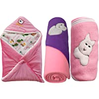 My NewBorn Baby Fleece Hooded Blanket (Pink, 0-3 Months) - Pack of 3
