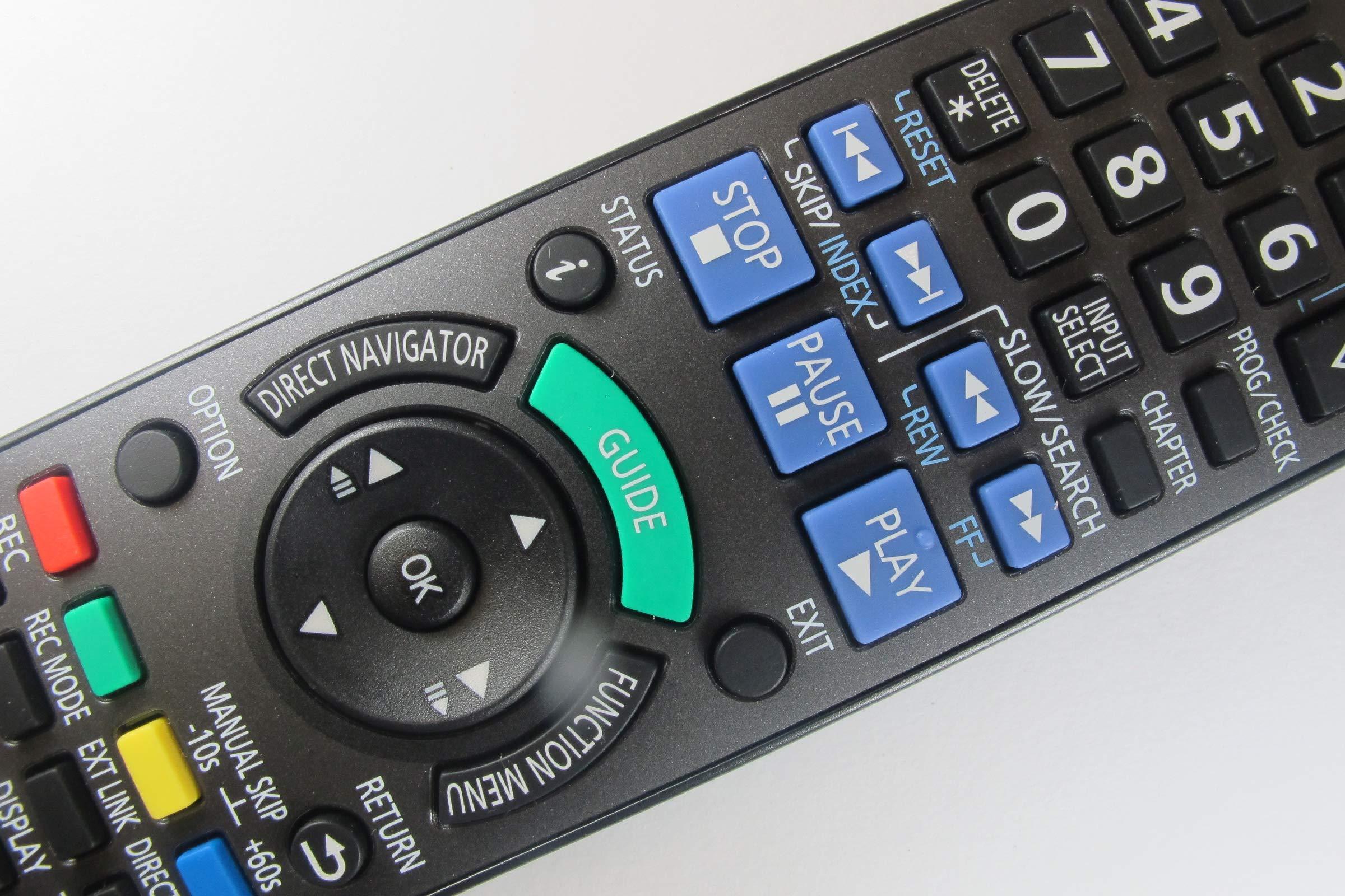 81MGBAYllmL - Panasonic DMR-EZ49VEBK Genuine DVD Recorder Remote Control N2QAYB000466