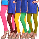 Robinbosky Women Churidar Leggings Value pack combo (pack of 5)(60 Colours, 5 Sizes) Butterfly Soft,Biowashed, Cotton…