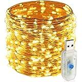 Easternstar 20m 200 LED guirlandes lumineuses, 8 modes lumières de fée USB étanches, lumières blanches chaudes pour intérieur