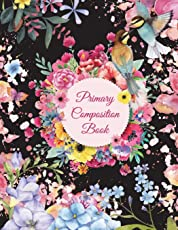 """Primary Composition Book: Black Color Flowers, Wide Ruled Primary Composition Notebook 120 Pages Large Print 8.5"""" x 11"""" Kids School Notebook, Draw and Write Journal"""