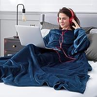 Bedsure Coperta Pile con Le Maniche -Coperta Indossabile 170x200 Blu Navy, Plaid Flanella Divano con Le Maniche Morido e…