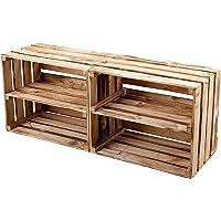 GrandBox Caisse en Bois flammé Flame-Box, avec étagère, Lot de 2, Caisse à vin, Caisse à Fruits, Caisse de décoration…