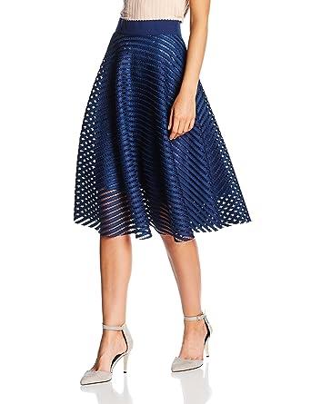 New Look Women's Self Stripe Midi Skirt: Amazon.co.uk: Clothing