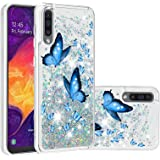 Mylne Liquid Case for Samsung Galaxy A50,Glitter Shockproof Quicksand Cover Floating Bling Sparkle Shiny Clear Bumper,Blue Bu