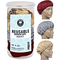 Old Tree Reusable Shower Cap Assorted Color Pack Of 3