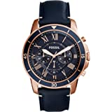 Fossil Grant Sport Men's Blue Dial Leather Band Chronograph Watch - FS5237