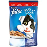 Purina Felix As Good as it Looks Beef in Jelly Wet Cat Food Pouch, 100 gm