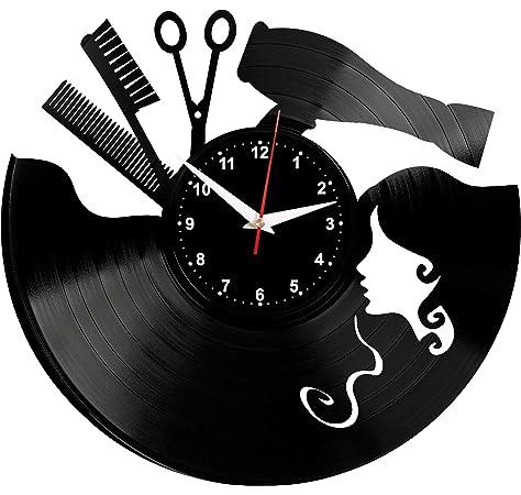 Pi/ù nuovo Creativo Stickers murali Parrucchiere Moda Orologi Orologi Grande Orologio da parete Sticker Fai da te Living Room Decor Barbershop Style 57cmx56cm