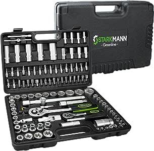 STARKMANN Greenline 94 teiliger Steckschlüssel-Satz Ratschenkasten Werkzeug-Kasten