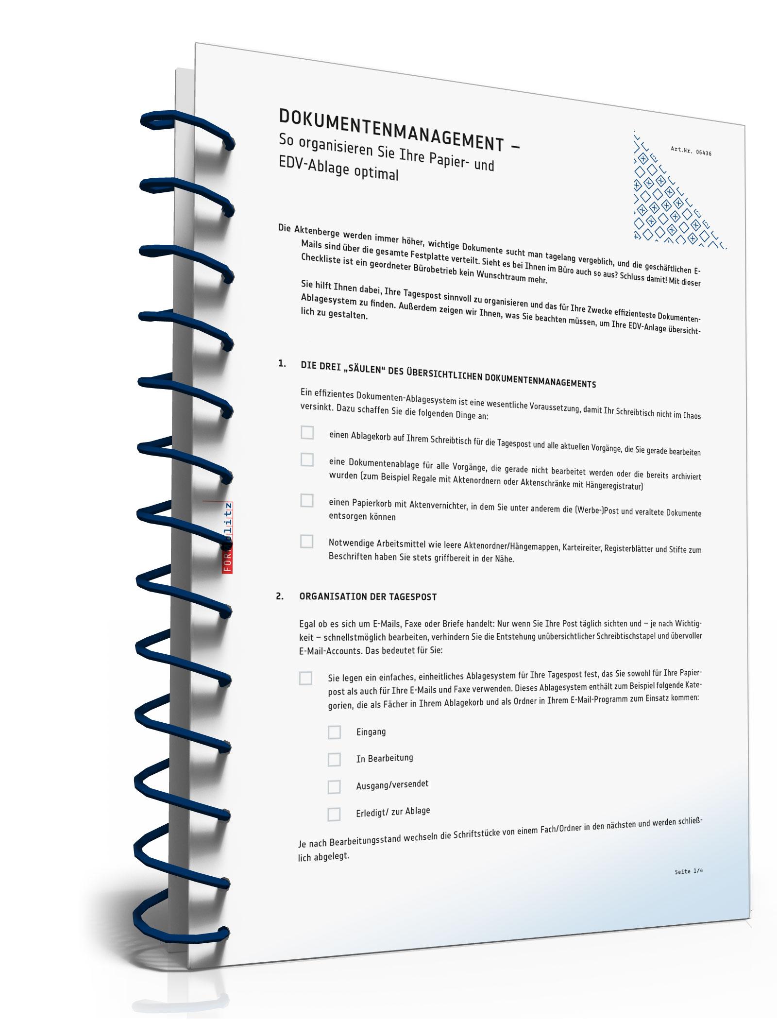 Checkliste Dokumentenmanagement [PDF Download] [Download]