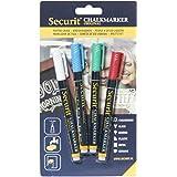 Securit 949697 - Pack de 4 marcadores de tiza liquido, colores surtidos