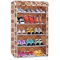 Flipzon Premium 5-Tiers Shoe Rack/Multipurpose Storage Rack with Dustproof Cover (Beige)