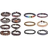 ZC LI JEWELRY 14 pcs Braided Leather Hemp Cords Wood Beads Ethnic Tribal DIY Bracelets for Women&Men,Wrap Adjustable