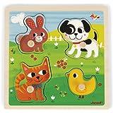 Janod - Puzzle Tactile en Bois Mes Premiers Animaux 4 Pièces - Puzzle enfant à Tenons - Jeu Educatif et Sensoriel - Toucher,