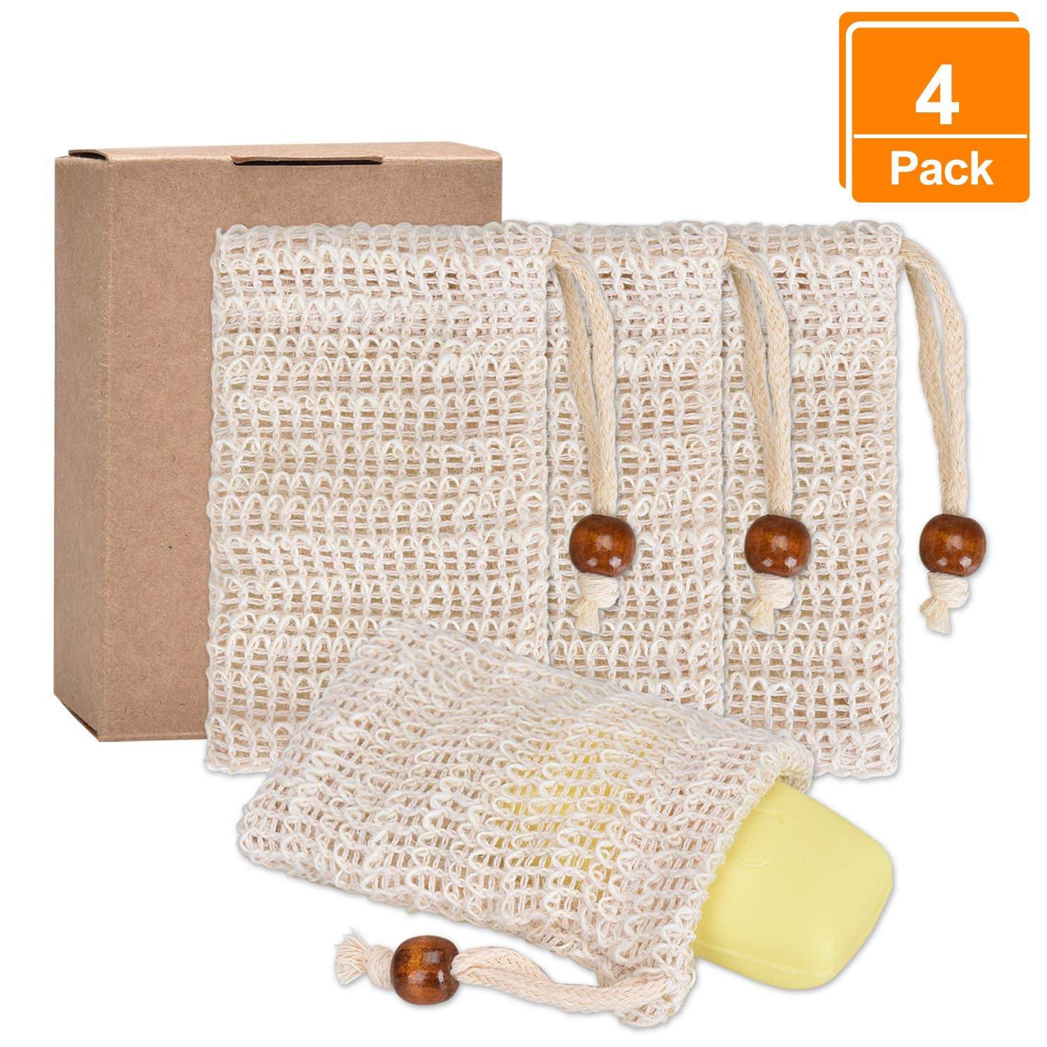 4 PCS Soap Bags, Willingood Natural Soft Exfoliating Sisal Soap Mesh Bag Soap Bar Saver Holder with Drawstring for Handmade Soap