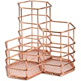 Rose Gold Hexagonal Desk Tidy | Mesh Triple Holder | Office & Bathroom Organiser | Pencil & Makeup Brush Storage | Rust-Proof Pencil Pot | M&W