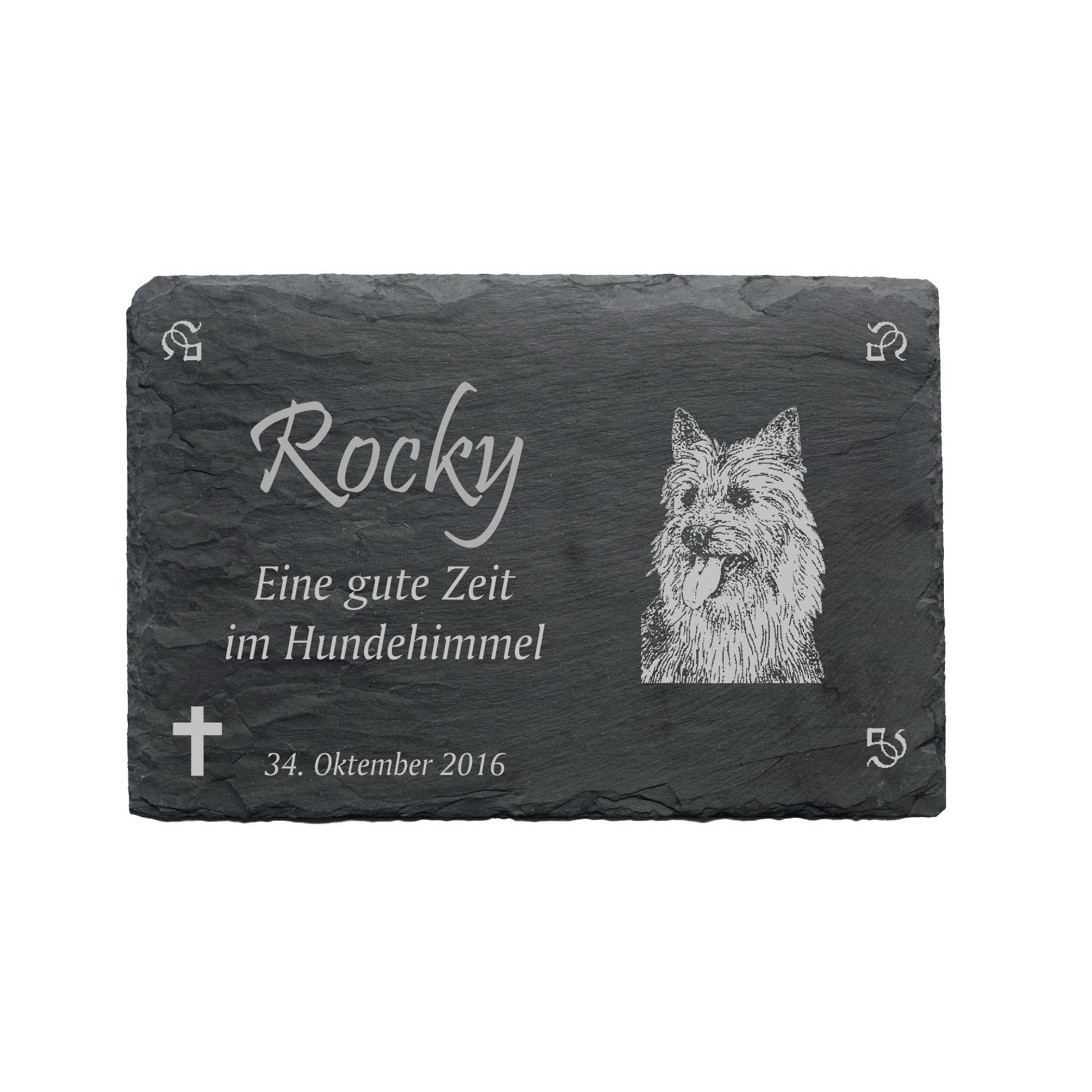 Commemorative plaque «Australian Terrier» made of slate – approx. 22 x 16 cm – weatherproof engraving