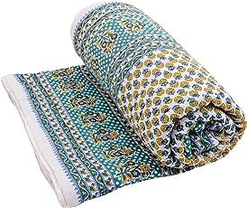 eCraftIndia Designer Floral Cotton Single Quilt - Blue and White