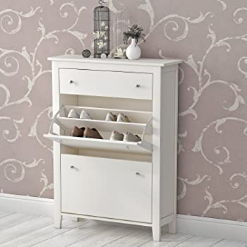 Britoniture Shoe Cabinet In White High Gloss Triple Shoe Storage Rack  Organiser Unit With Drawer