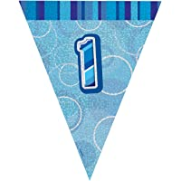 Unique Party 92141 - 9ft Foil Glitz Blue Happy 1st Birthday Bunting Flags