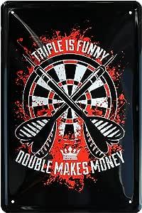 Retro Blechschild 20x30 Dart Turnier Scheibe Triple is funny Double makes Money