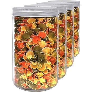 Pack 4 Bocaux en Polyéthylène Alimentaire, 1,3 L (18x10 cm), avec Couvercle Fileté en Aluminium. Recyclable. 100% Sans BPA.