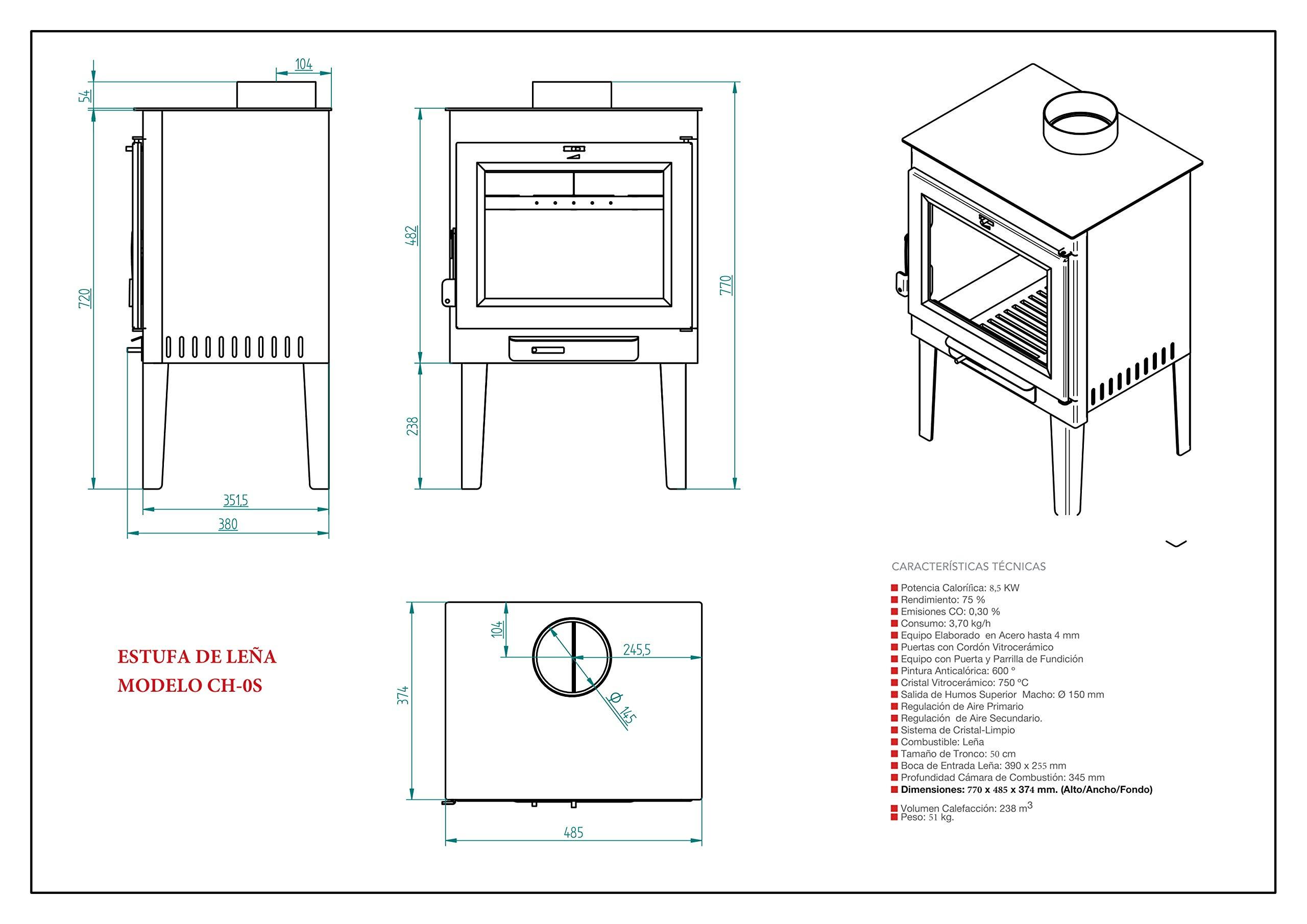 Estufa de Leña Frontal con Patas Modelo Ch-0 S