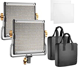 Neewer Dimmable Bi-Colour 480 LED with Metal U Bracket for Studio/Outdoor Video Photography 3200-5600K, CRI 96(13.5x13.2x8.4-inches, Black)-Pack of 2