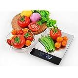 Venga! Bilancia da Cucina di Precisione, Fino a 5 kg, Vassoio in Acciaio Inox, Con Sensore di Temperatura e Orologio, Nero/In