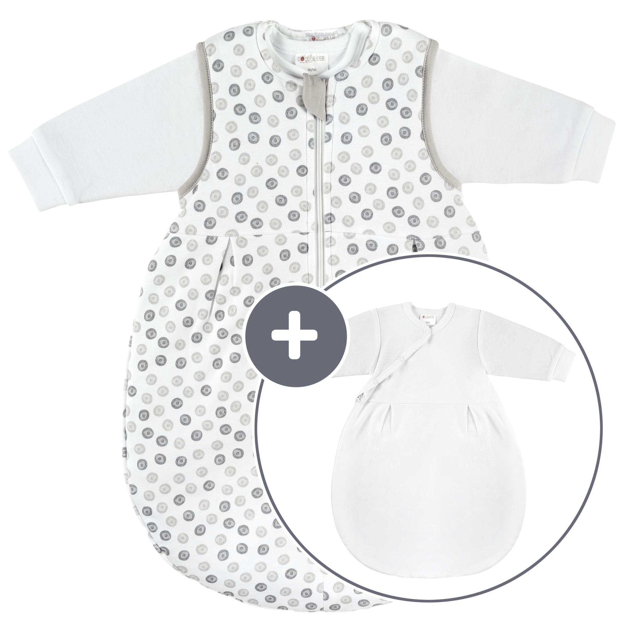 Coconette Circle Saco de dormir bebé todo el año – 2 Piezas: saco exterior forrado y saco interior de manga larga   para invierno y verano, 100% algodón – Talla: 0-3 meses (50/56)