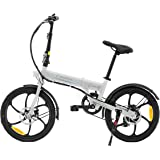 "SMARTGYRO Ebike Crosscity White - Bicicleta Eléctrica Urbana, Ruedas de 20"", Asistente al Pedaleo, Plegable, Batería extraíbl"