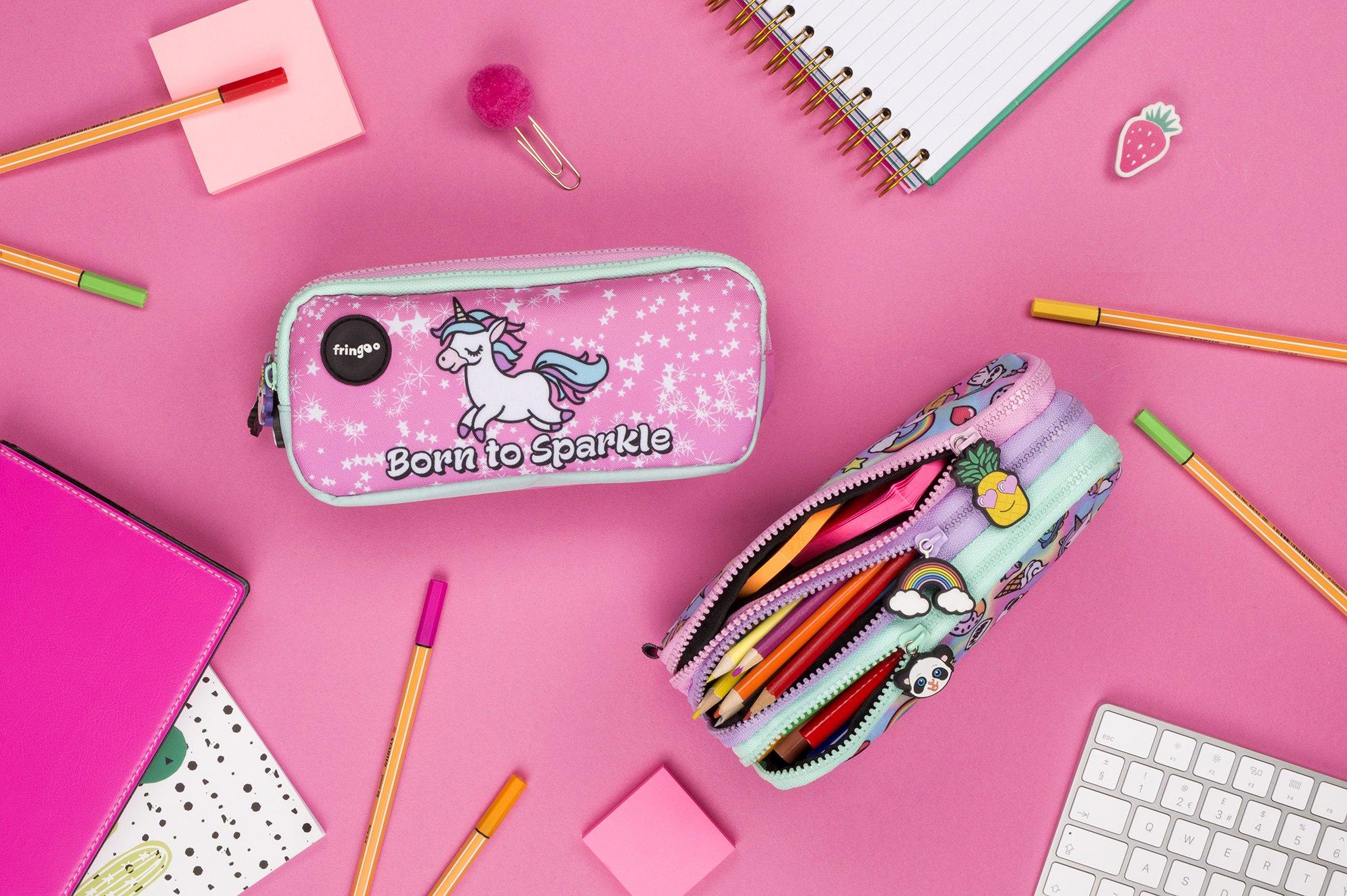 FRINGOO – Trousse à crayons avec 3compartiments jolie et amusante – Pour enfant Large Born To Sparkle – 3 Compartments