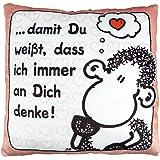 Sheepworld 42389 Plüsch-Kissen mit Spruch damit Du weißt, dass ich immer an dich denke, kleines Deko-Kissen, 25 cm x 25 cm