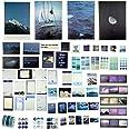 Lot de 64 autocollants décoratifs pour scrapbooking - Motif : mer et montagnes - Pour album photo fait à la main