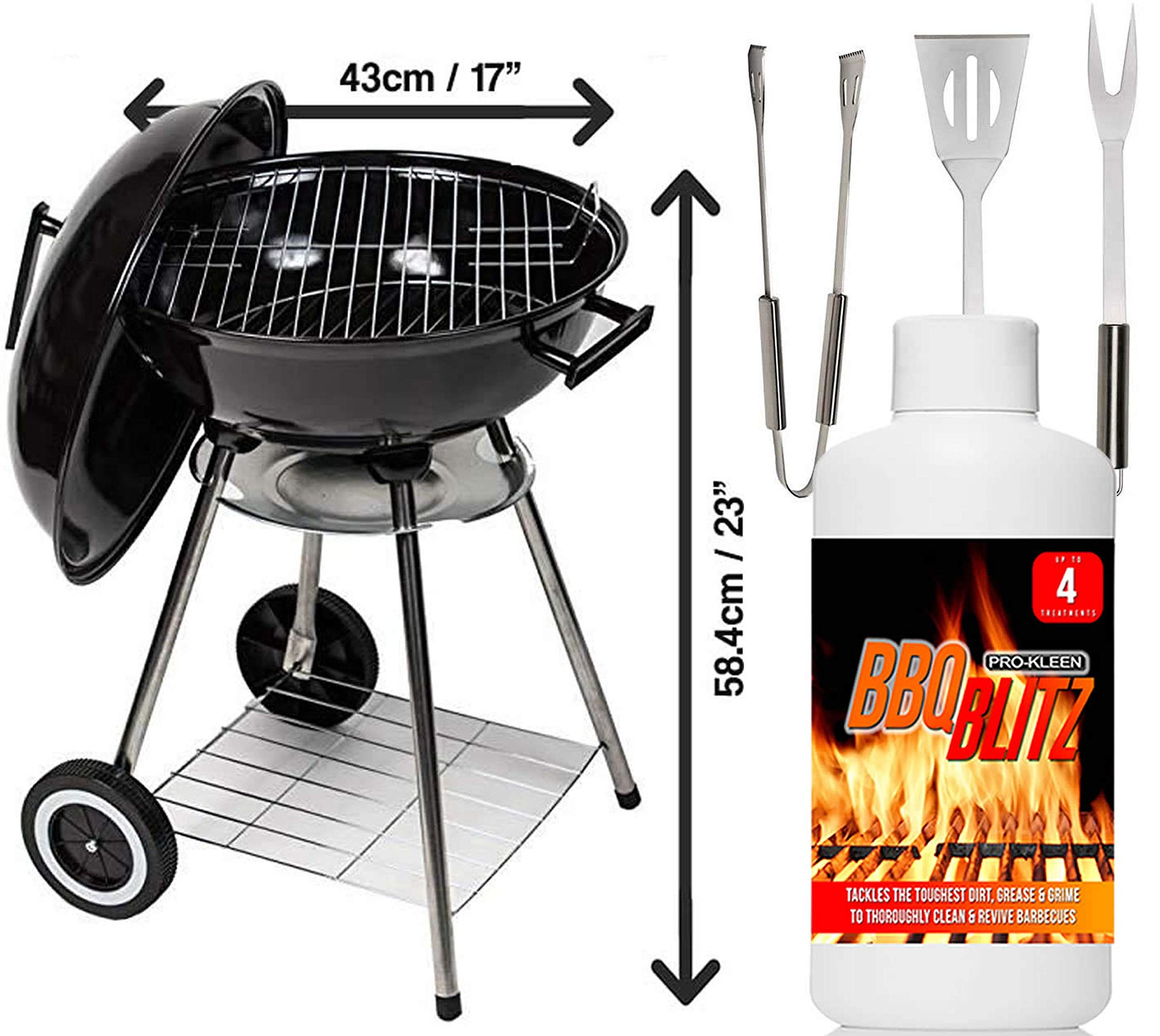"81MS1FZCBvL - MYLEK Charcoal BBQ Grill With Lid, Portable Kettle Barbecue 17"" Inch, 3 Piece Cooking Tools Utensil Accessory Set and 1L BBQ Grill Cleaner With Bags"