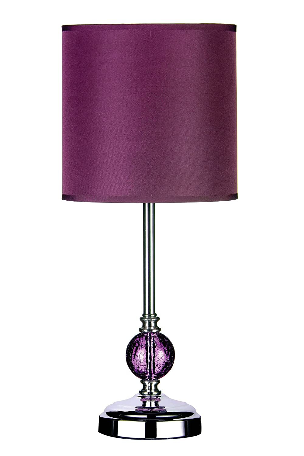 Premier Housewares Chrome Table Lamp with Crackle Glass Ball and ...