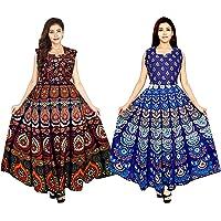 New Krishna Fashions Cotton Rajasthani Traditional Women's Maxi Long Dress Jaipuri Printed (Free Size Upto 44-XXL) Pack of - 2 pcs Combo