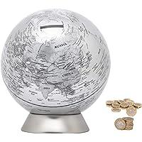 EXERZ Globus Spardose/Sparbüchse/Sparschwein -Durchmesser 16 cm - Zeitgenössisch Metallisch Aussehen, Pädagogisch, Für…