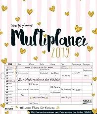 Multiplaner - Time for glamour 2019: Typo-Art Familienplaner, 7 breite Spalten. Schöner Familienkalender mit Ferienterminen, extra Spalte, Vorschau für 2020 und Herz-Datumsschieber. Format: 40x47 cm
