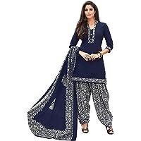 Miraan Women's Cotton Unstitched Salwar Suit (SAN2520_Blue_Free Size)