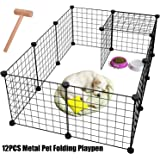 Pet Playpen Metal,Metal Pet Folding Playpen Dog Kennel Pets Fence Exercise Cage 12 Panels Metal Wire Yard Fence for Small Ani