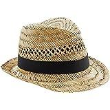 Beechfield - Sombrero de Paja Modelo Trilby Summer Unisex Hombre Mujer - Fiesta/Ibiza