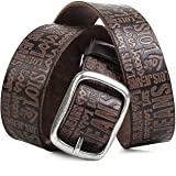 Lois - Cinturon Hombre Cuero Piel Genuina De Marca Hebilla doble metálica. flexible y duradero. Para vaqueros. Talla Ajustabl