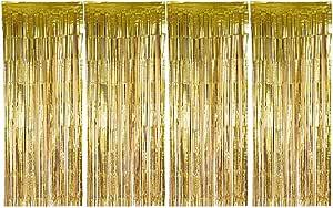 Sancuanyi 1m X 2 5m 4 Stück Lametta Vorhänge Dekoration Folie Vorhang Glitzer Deko Glänzende Fransenvorhang Fransen Für Hochzeit Disco Geburtstagsdekoration Diy Party Favor Dekorationen Gold Küche Haushalt