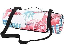 SONGMICS Picknickdecke, 200 x 200 cm große Stranddecke, Campingdecke, wasserdichte Unterseite, maschinenwaschbar, faltbar, fü