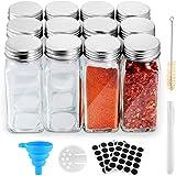Funxim Botes para Alimentos 12 Pcs, Tarros de Cristal para Especias 120ml Buena Estanqueidad a Los Gases con Embudo de Tiza L