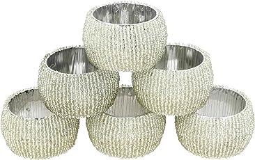 Prisha India Craft Glass Beaded Napkin Rings (MD--napkinring001-silver-6-prisha) - Set of 6